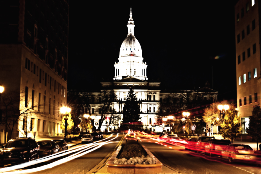 Michigan Capitol at night.